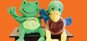 image of frog and duck puppets
